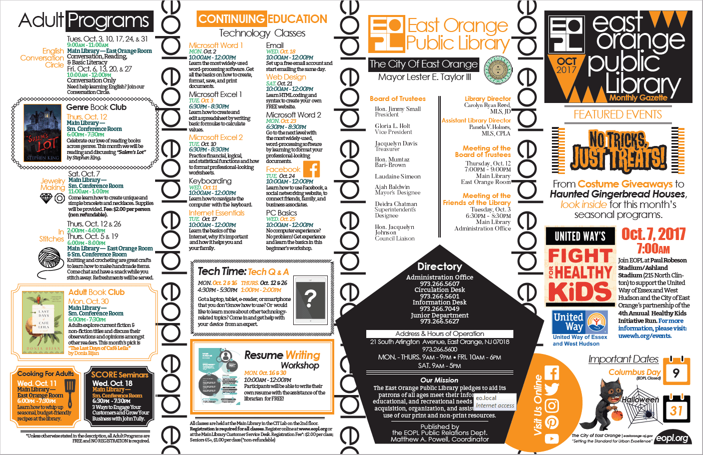 East Orange Library October Flyer