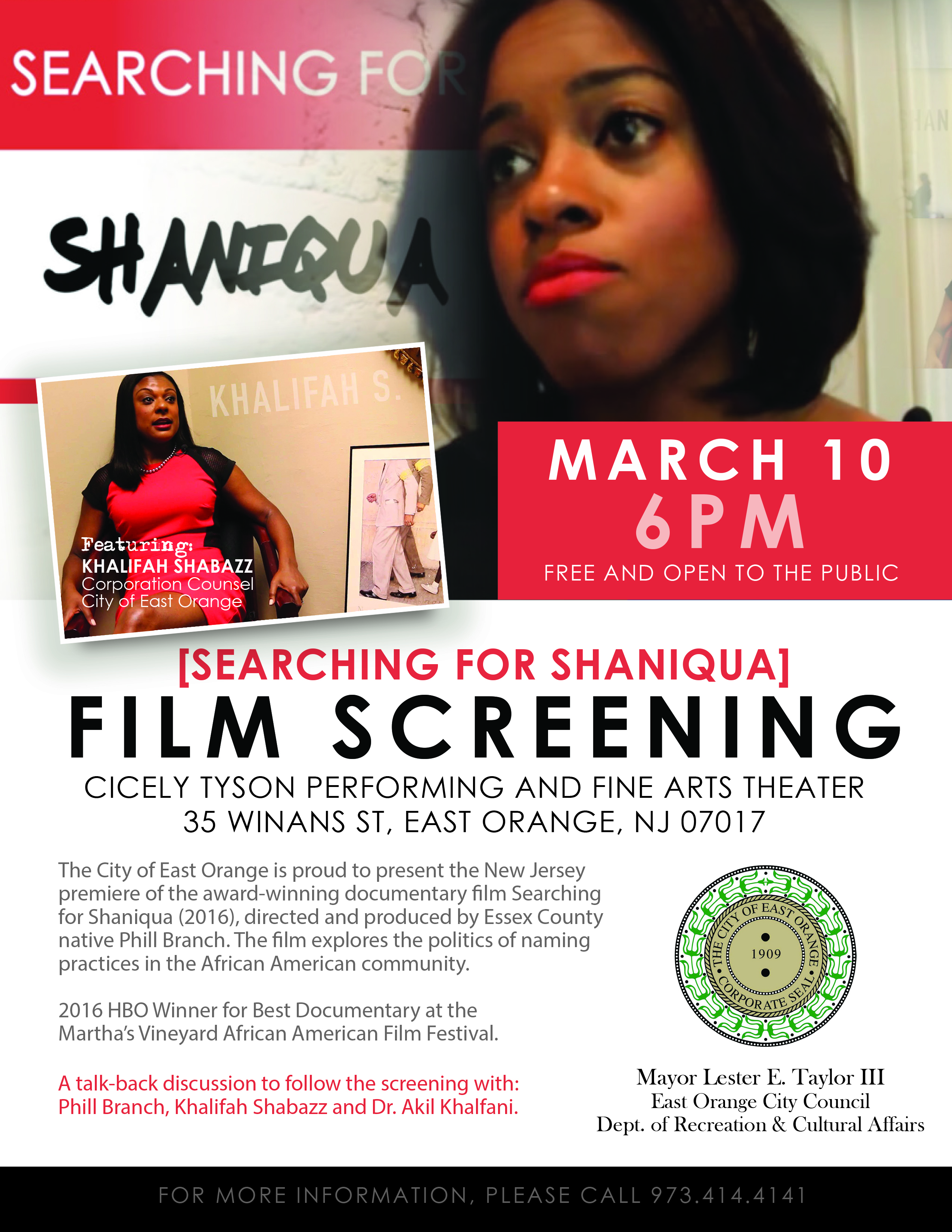 Searching for Shaniqua Makes NJ Film Debut at Cicely Tyson School on Fri, March 10